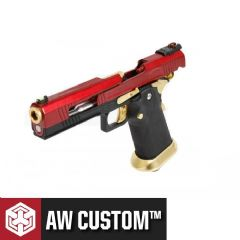 AW Custom HX1004 Hi-Capa GBB Airsoft Pistol (Red Split Slide & Gold Barrel)